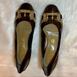 Brown Patent Leather, Unisa Block Heel Court Shoes